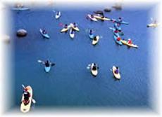 宮ヶ瀬湖畔園地 親水池でのカヌースクール