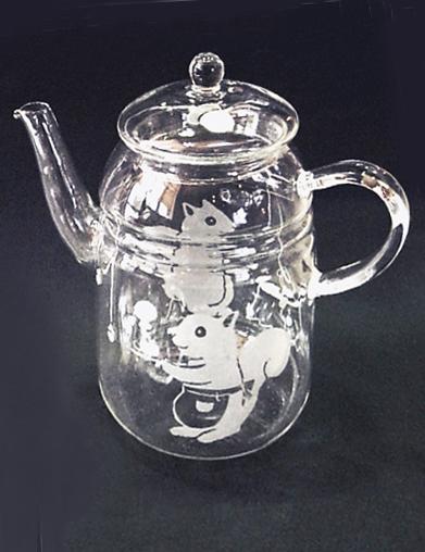 ガラス工芸サンドブラストで、ガラスの耐熱ポット/陶製アロマランプ作り