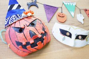 秋限定季節メニュー【木の工房】ハロウィン仮面とガーランド作りのタイトル画像